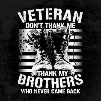 Irmãos veteranos de ilustração com botas e bandeira