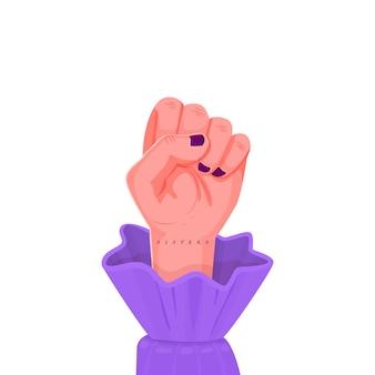 Irmãs com a mão feminina levantada em um punho.