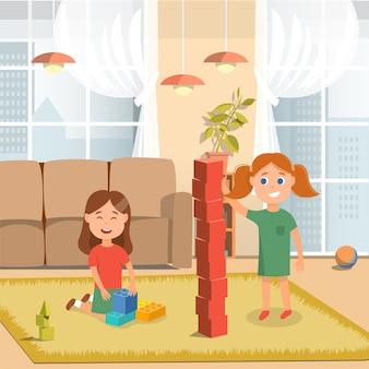 Irmãs jogando tijolos de construção em casa dos desenhos animados