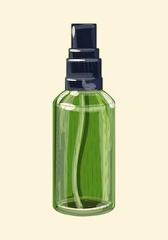 Irrigador de vidro verde medicinal, esboço desenhado à mão