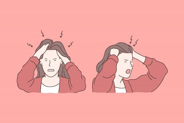 Irritação, dor de cabeça, conceito de emoções negativas