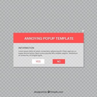 Irritante pop up com design plano