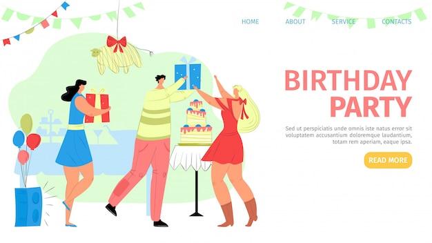 Irthday festa desembarque ilustração. as pessoas do grupo se divertem no quarto com balões e bandeiras. homem sorridente aceita parabéns. mulher dá presente. bolo doce decorado de forma colorida.