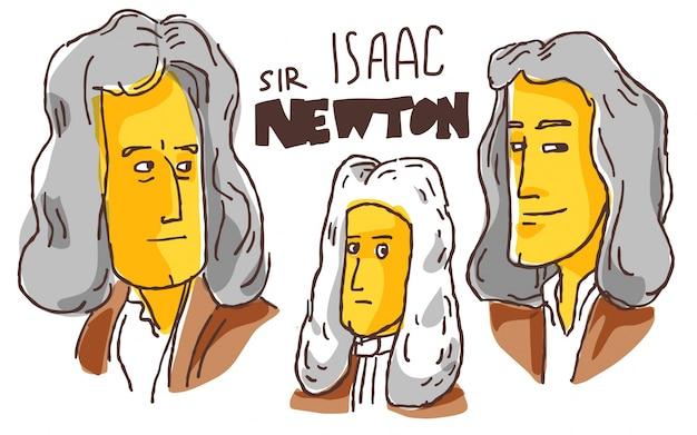 Isaac newton em esboço amarelo e preto