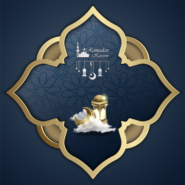 Islâmica ramadan kareem design abstrato mandala e lanterna ilustração