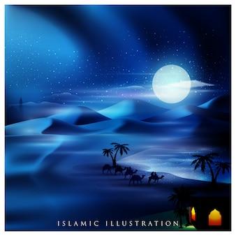 Islâmico com oásis em terra árabe e viajante em camelo