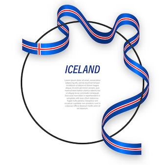 Islândia 3d com bandeira nacional.