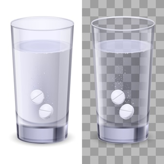 Isolado copo de água e comprimidos