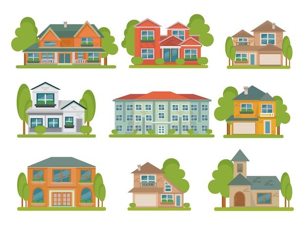 Isolado diferentes tipos coloridos de edifícios plana conjunto com áreas verdes ao redor