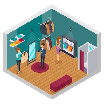 Isolado e colorido tentando interior isométrica conceito de loja com acessórios de pano e compradores