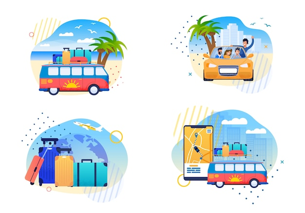 Isolado feliz verão viagens vector plana cartoons