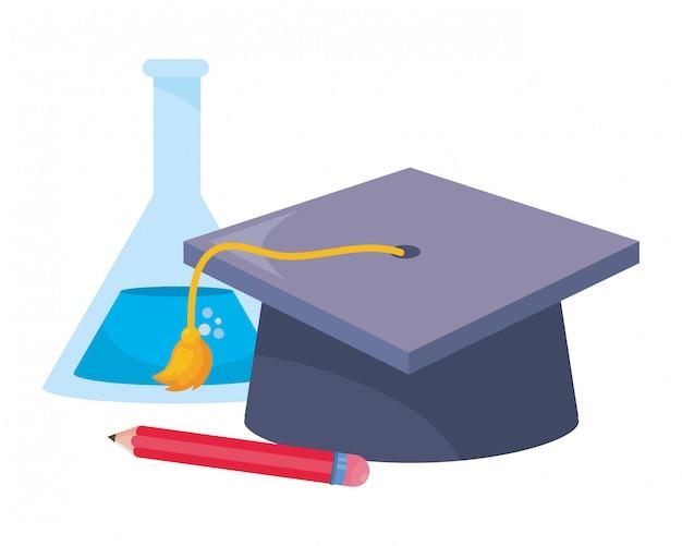 Isolado, graduação, boné, desenho, vetorial, ilustração