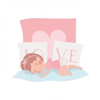 Isolado, menina bebê, ilustração