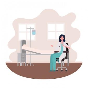 Isolado, mulher, doutor, ilustração