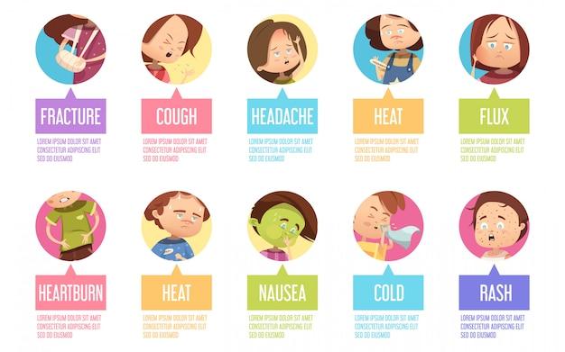 Isolado no ícone de criança de sikness de desenhos animados de círculos definido com fratura tosse cefaléia fluxo de calor azia