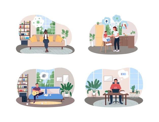 Isolamento de estresse e ansiedade 2d web, conjunto