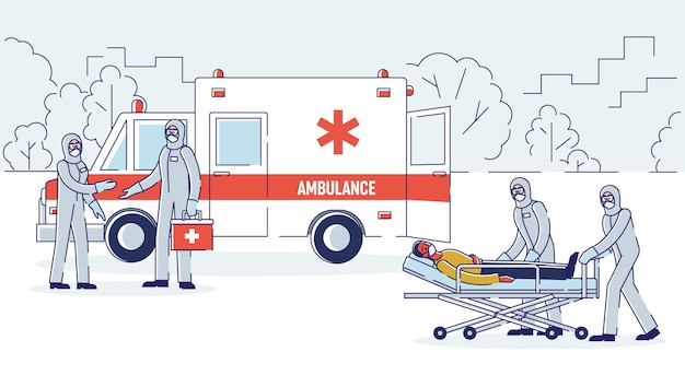 Isolamento de pacientes infectados conceito brigada de ambulância em macacões de proteção
