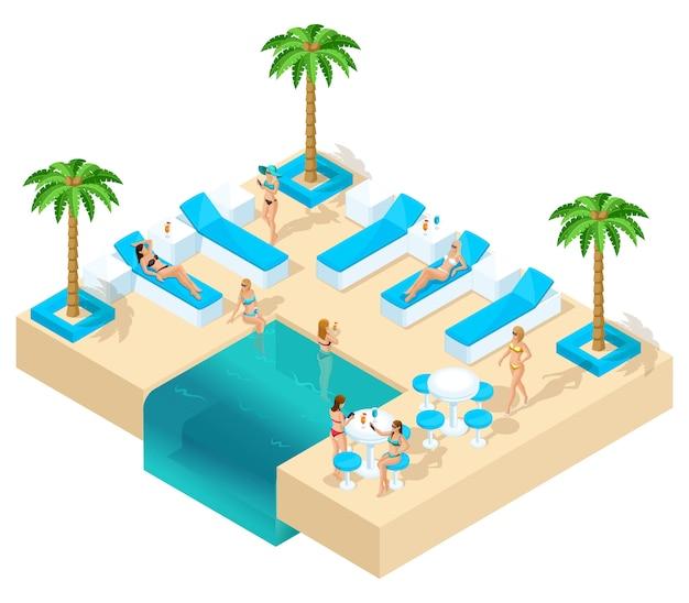 Isometria da menina de férias, mulheres 3d, despedida de solteira no resort lindo hotel descansar na sala de estar. palmas, areia, água, bacia belos gêneros, álcool
