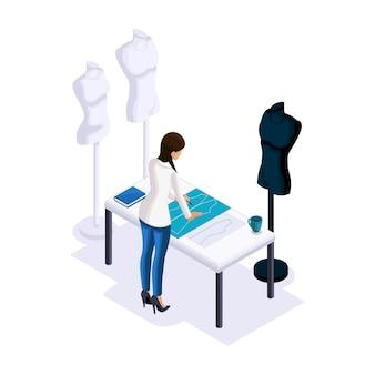 Isometria de alfaiate, a estilista confecciona estampas, criando roupas para venda, manequins para encaixar. o empresário trabalhando para si mesmo, seu próprio negócio
