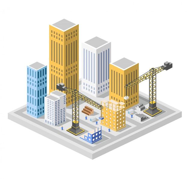 Isometria de construção industrial nos arranha-céus da cidade grande em construção, casas