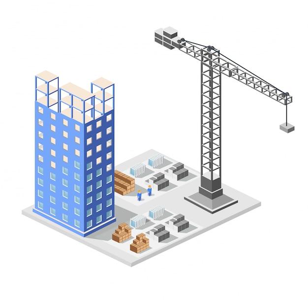 Isometria de construção industrial nos arranha-céus da cidade grande em construção