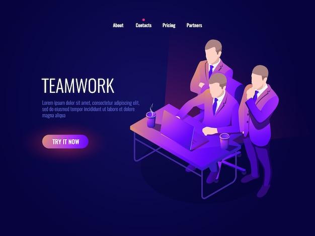 Isometria de ícone de trabalho em equipe, discussão coletiva, discussão de projeto, inicialização, gestão de negócios
