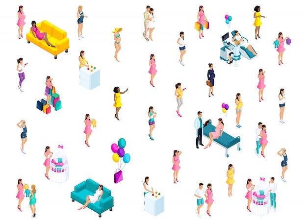 Isometria de meninas grávidas em diferentes atividades, casal ao lado do berço do bebê, mulher feliz, balões
