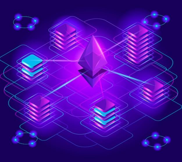 Isometria de moeda criptográfica, efeitos de luz holográficos brilhantes, pilha de bloqueio, plataforma ethereum, troca, crescimento da receita, análise de mercado, pagamento por criptografia