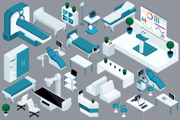 Isometria de qualidade, dispositivos médicos, cama de hospital, ressonância magnética, scanner de raios x, scanner de ultrassom, cadeira odontológica, sala de cirurgia