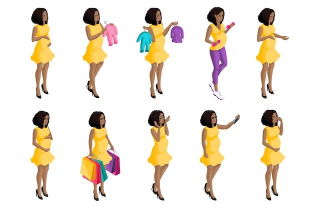 Isometria de qualidade, garota afro-americana grávida, um grande conjunto de mulheres grávidas para ilustrações, preparando-se para o nascimento de uma criança