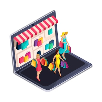 Isometria de uma garota, fashionista, compras on-line. garotas da moda com compras chegam em casa. belo conceito brilhante com a compra de roupas, jóias de sapatos