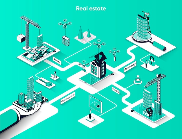 Isometria plana de banner web isométrica imobiliária