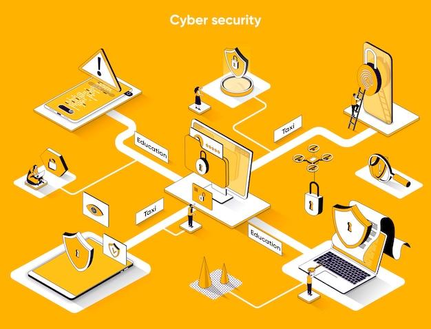Isometria plana de web banner isométrica de segurança cibernética