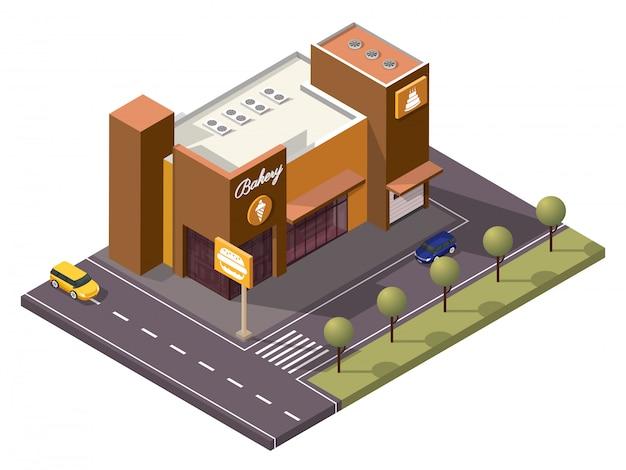 Isometric bakery shop como sorvete, bolo, hamburguer ao longo da rua de transporte