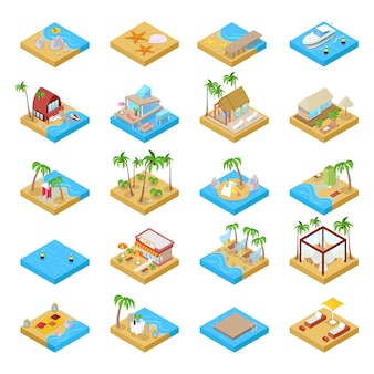 Isometric beach vacation collection