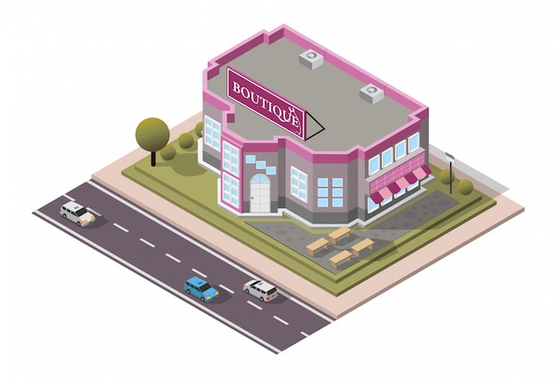 Isometric boutique shop
