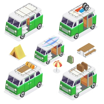 Isometric camper set vans