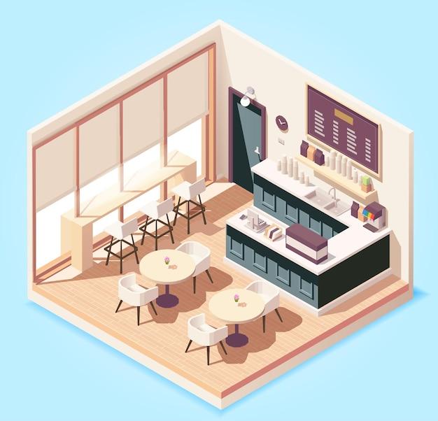 Isometric cute pequeno café ou restaurante