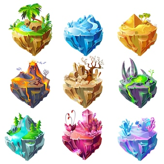 Isometric game islands collection