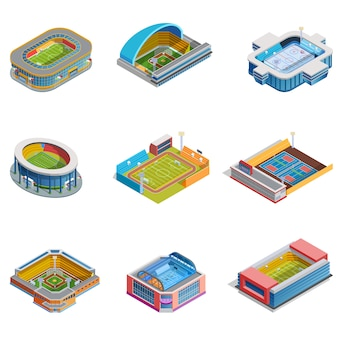 Isometric images stadiums set