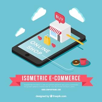 Isometric lovely shop na tela do telefone