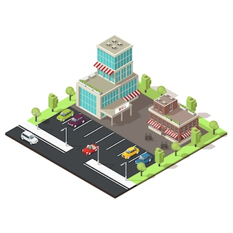 Isometric shopping centre