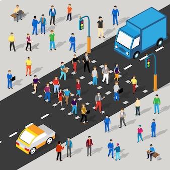 Isometric street crossroads ilustração 3d do bairro da cidade com ruas