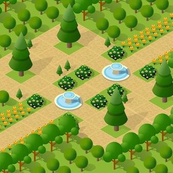 Isométrica 3d árvores parque floresta camping elementos naturais para paisagem