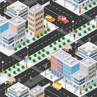 Isométrica 3d rua centro arquitetura distrito parte da cidade com edifícios rodoviários ao ar livre.