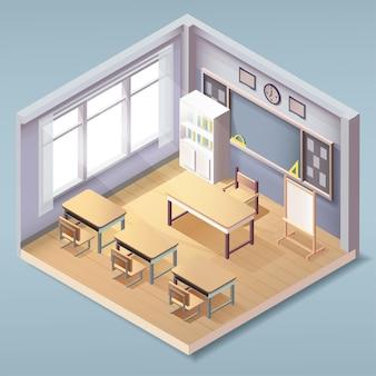 Isométrica adorável vazia interior de sala de aula, classe escolar ou universitária