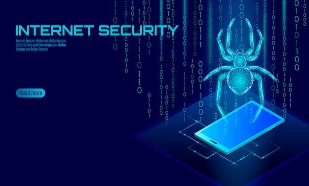Isométrica aranha 3d hacker ataque perigo. conceito de antivírus de segurança de dados de vírus de segurança na web. conceito de negócio de design de bloqueio de smartphone. cyber crime web inseto bug tecnologia ilustração