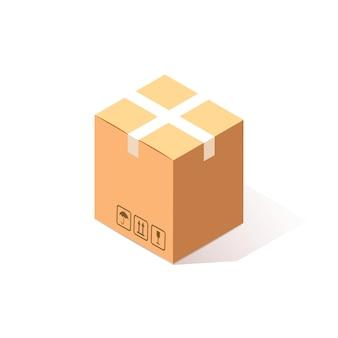 Isométrica caixa fechada, caixa de papelão em fundo branco. pacote de transporte na loja, distribuição.
