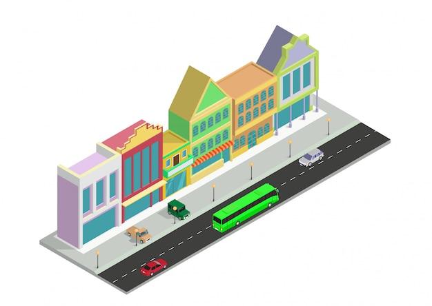 Isométrica cidade loja casa construção