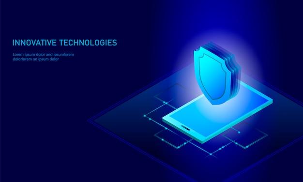 Isométrica conceito de negócio de escudo de segurança de internet, azul brilhante isométrica